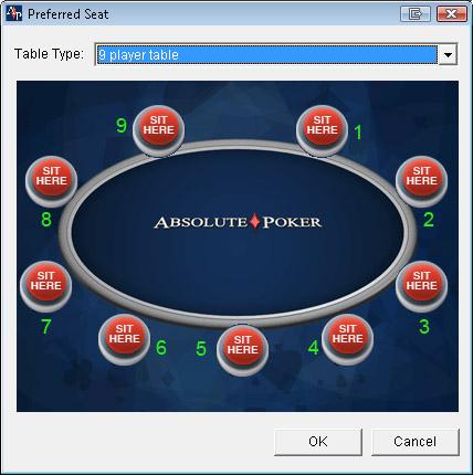 Seats at poker table